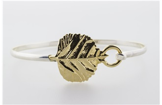 Aspen Leaf Vermeil Bangle Bracelet