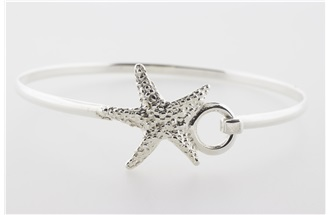 Bumpy Starfish Sterling Silver Bangle Bracelet