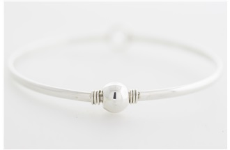 Cape Cod Single Sterling Silver Ball on Sterling Silver Bangle Bracelet with Silver Wire Wrap