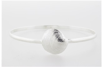 Clam Sterling Silver Bangle Bracelet