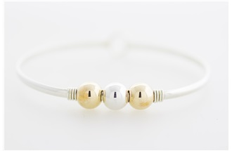 Cape Cod 3 Ball Gold Filled - Sterling Silver - Gold Filled Balls on Sterling Silver Bangle Bracelet with Gold Filled Wire Wrap